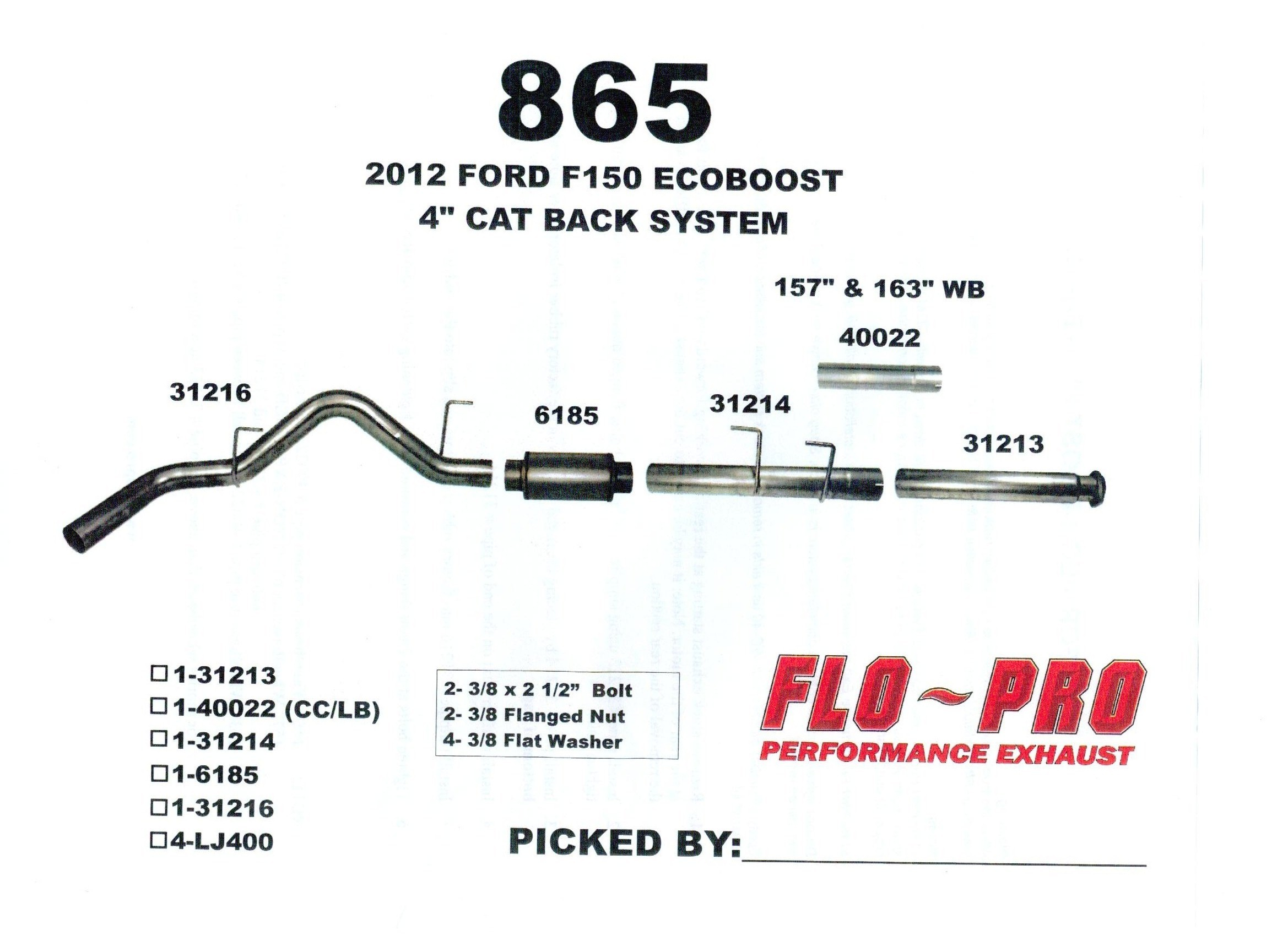 Stainless Flo Pro F Eco Boost Cat Back Exhaust on Ford F 150 Exhaust System Diagram