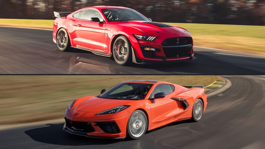 corvette mustang gt500 vs ford c8 shelby chevy comparison chevrolet track motortrend camaro faster engine then mid trend motor around