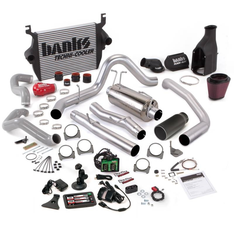 Banks Power 03-04 Ford 6 0L ECLB Big Hoss Bundle - SS Single Exhaust w/  Black Tip GBE-46626-B