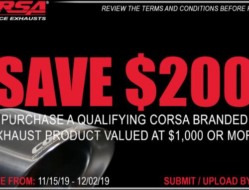 Corsa & Volant Performance Black Friday/Cyber Monday Promos 11/15/19 through 12/02/19, Holiday Promo through 12/31/19