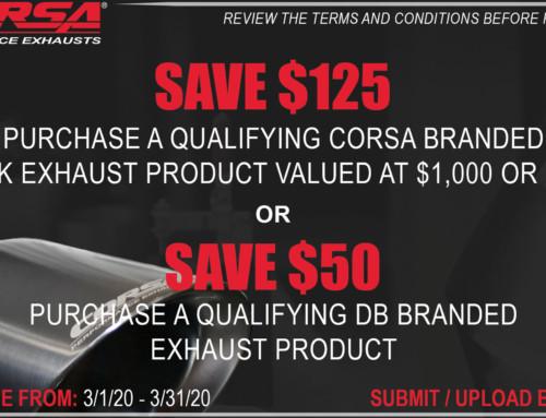 CORSA REBATE! SAVE UP TO $125