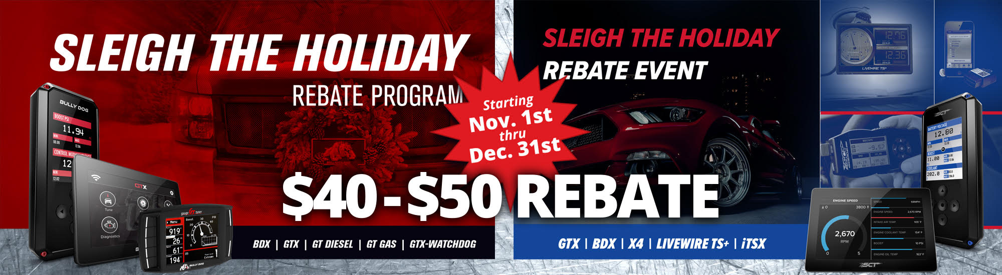 SCT Holiday Rebate Slider