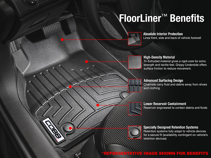 COBB 14-17 Ford Focus ST Front FloorLiner by WeatherTech - Black WT446461