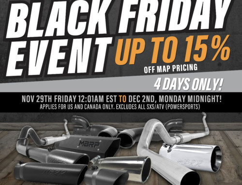 MBRP Black Friday Event Up to 15% off 11/29/19 through 12/02/19